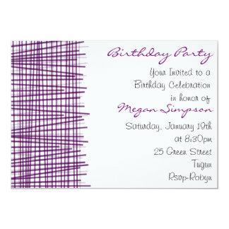 Línea púrpura y blanca invitación moderna del