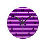 Línea púrpura y negra relojes de pared