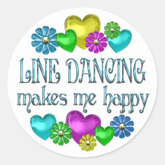 Línea que baila Happinness Etiquetas Redondas