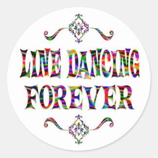 Línea que baila para siempre etiqueta redonda