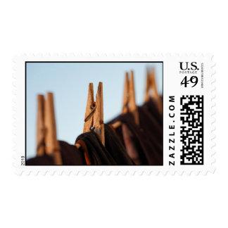 Línea que se lava timbre postal