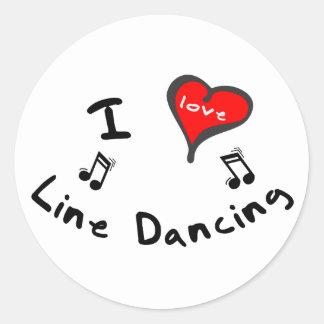 Línea regalos del baile - línea de corazón de I Pegatina Redonda