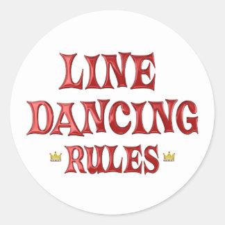 Línea reglas del baile etiqueta redonda