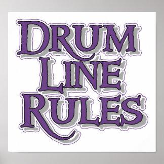 Línea reglas del tambor póster