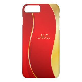 Línea roja abstracta monograma funda iPhone 7 plus