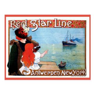 Línea roja Amberes-Nuevo anuncio de la estrella Tarjetas Postales