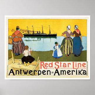 Línea roja ~ Antwerpen-Amerika de la estrella Póster
