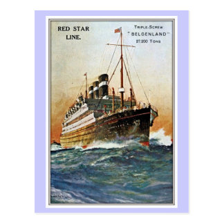Línea roja Belgenland de la estrella del vintage Postal