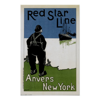 Línea roja de la estrella póster