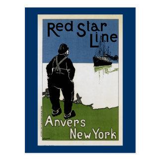 Línea roja de la estrella postal