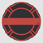 Línea roja fina cruz de Maltesse Etiqueta Redonda
