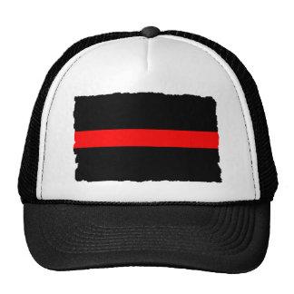 Línea roja fina del bombero gorros bordados