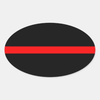Línea roja fina del bombero calcomanías de ovales personalizadas