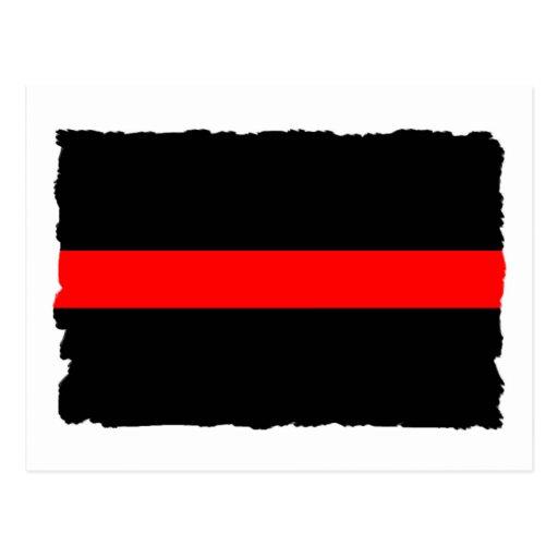 Línea roja fina del bombero tarjetas postales