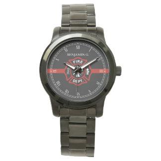Línea roja fina militar conocido de encargo del reloj de mano