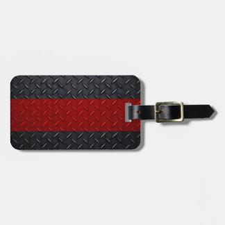 Línea roja fina placa del bombero del diamante etiqueta para equipaje