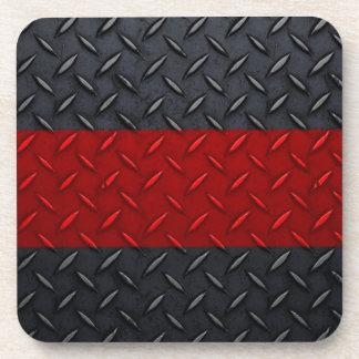 Línea roja fina placa del bombero del diamante posavasos