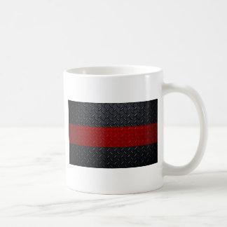 Línea roja fina placa del bombero del diamante taza de café