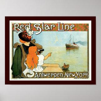 Línea roja mujer de la estrella con el anuncio del póster