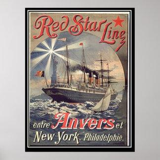 Línea roja poster de la estrella