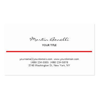 Línea roja tarjeta de visita blanca de la