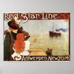 Línea roja travesías de la estrella al poster del