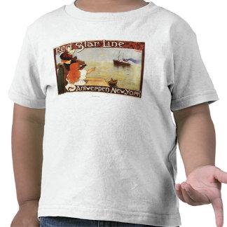 Línea roja travesías de la estrella al poster del camiseta