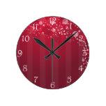 Línea rosada roja diseño del círculo de Abstact Reloj De Pared