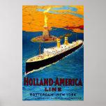 Línea Rotterdam Nueva York de Holanda América Posters