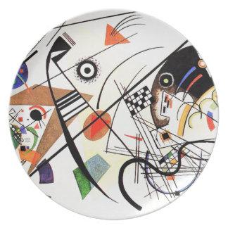 Línea transversal placa de Kandinsky Plato De Comida
