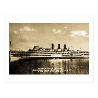 Línea vapor Washington Irving del día del río Huds Tarjetas Postales