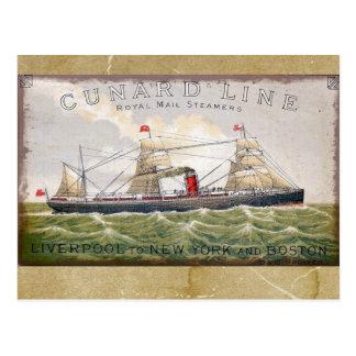 Línea vapores de Cunard del vintage de Royal Mail Tarjeta Postal