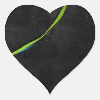 Línea Verde simple abstracta a través Pegatina En Forma De Corazón