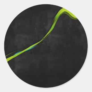 Línea Verde simple abstracta a través Pegatina Redonda