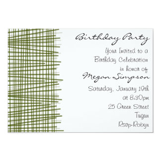Línea verde y blanca invitación moderna del