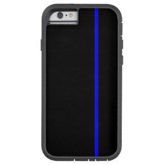 Línea vertical fina azul en negro funda de iPhone 6 tough xtreme
