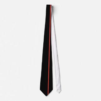 Línea vertical fina roja del CG en negro Corbata Personalizada
