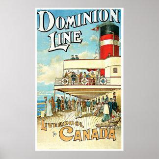 Línea viaje del dominio del vintage del buque de p posters