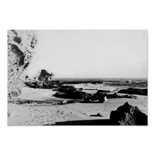 Línea vintage blanco y negro de la costa de Califo Impresiones