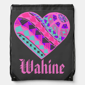 LineA Wahine Polynesian Heart Tattoo Drawstring Backpack