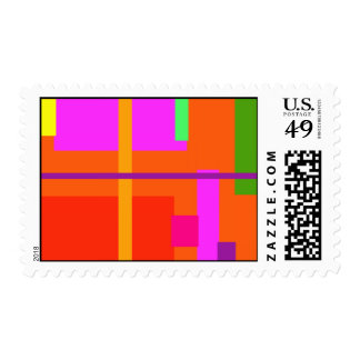 Linear Beauty Orange Postage Stamps