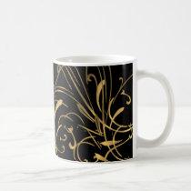 curvilinear, linear, art, design, abstract, flourish, black, gold, gift, gifts, mug, mugs, Mug with custom graphic design