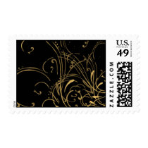 curvilinear, linear, art, design, abstract, flourish, black, gold, gift, gifts, postage, stamp, stamps, Stamp with custom graphic design