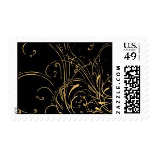 Linear Dance on Black Stamps