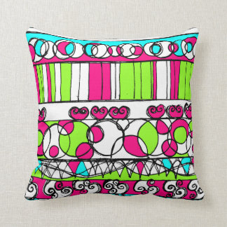 Linear Love   Throw Pillow in Aqua Lime Pink
