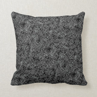 Linear Scrolls (Black and White) Throw Pillow
