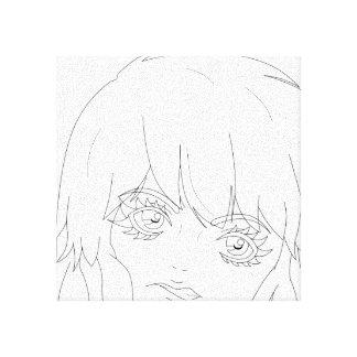 """Lineart Semi-Realista 12"""" del chica del animado"""" l Impresión De Lienzo"""