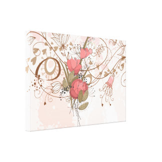 Lineart Vintage Pink Floral Wrapped Canvas