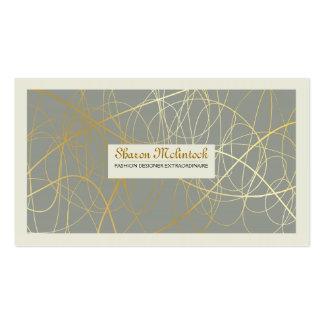 Líneas abstractas de oro tarjetas de visita