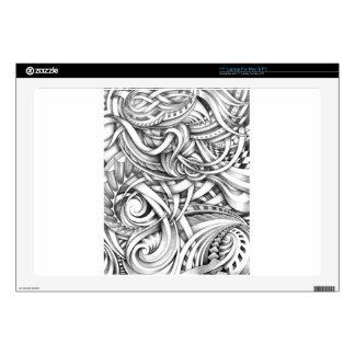 Líneas abstractas de Swirly del Doodle sombreadas 43,2cm Portátil Calcomanía